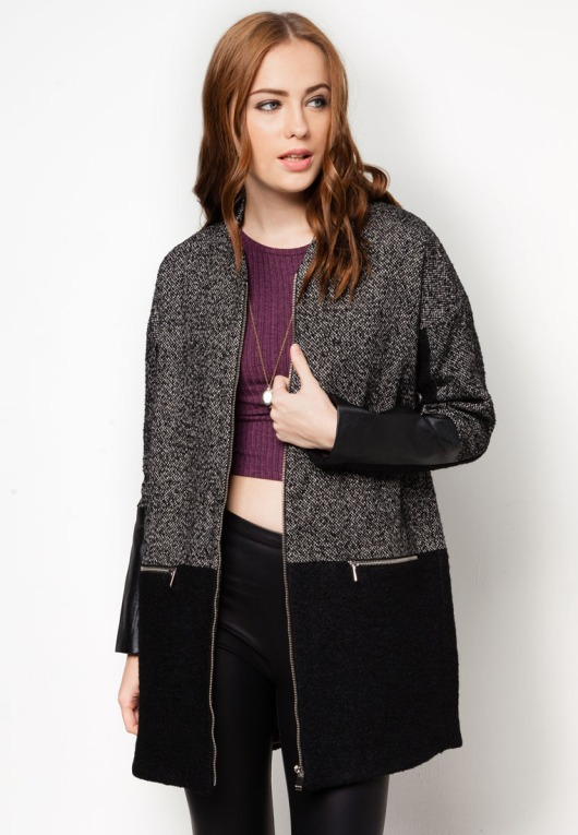 Kendal Grey Tweed Block Coat By River Island