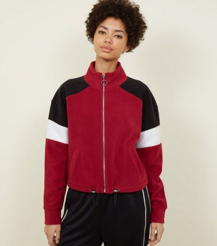 burgundy-colour-block-fleece-jacket-