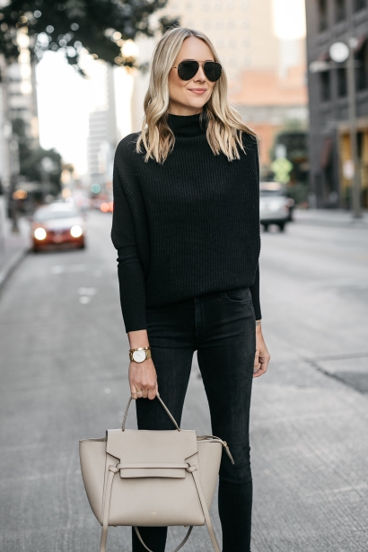 Fashion-Jackson-Club-Monaco-Black-Cashmere-Sweater-Black-Jeans-Celine-Mini-Belt-Bag-2